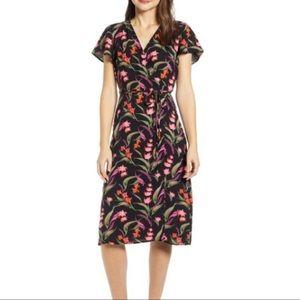 Leith Nordstrom Rack Black Floral Wrap Dress Midi